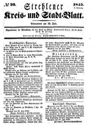 Strehlener Kreis- und Stadtblatt vom 19.07.1845