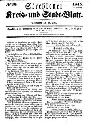 Strehlener Kreis- und Stadtblatt vom 26.07.1845