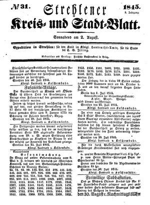Strehlener Kreis- und Stadtblatt vom 02.08.1845