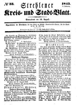 Strehlener Kreis- und Stadtblatt vom 16.08.1845
