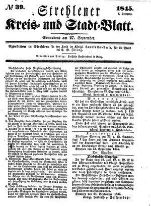 Strehlener Kreis- und Stadtblatt vom 27.09.1845