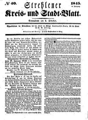 Strehlener Kreis- und Stadtblatt vom 04.10.1845