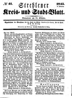 Strehlener Kreis- und Stadtblatt vom 11.10.1845