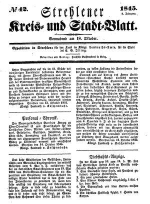 Strehlener Kreis- und Stadtblatt vom 18.10.1845
