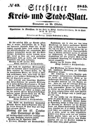 Strehlener Kreis- und Stadtblatt vom 25.10.1845