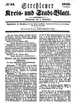 Strehlener Kreis- und Stadtblatt vom 01.11.1845