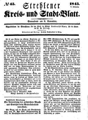 Strehlener Kreis- und Stadtblatt vom 08.11.1845