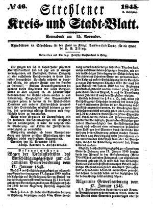 Strehlener Kreis- und Stadtblatt vom 15.11.1845