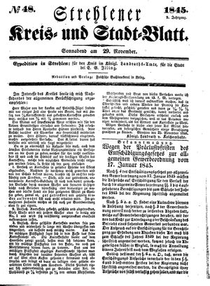 Strehlener Kreis- und Stadtblatt vom 29.11.1845