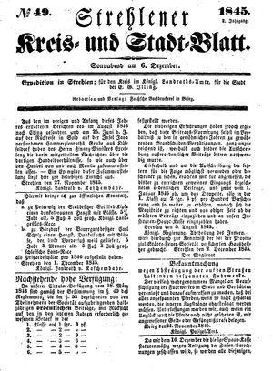 Strehlener Kreis- und Stadtblatt vom 06.12.1845