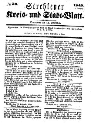 Strehlener Kreis- und Stadtblatt vom 13.12.1845