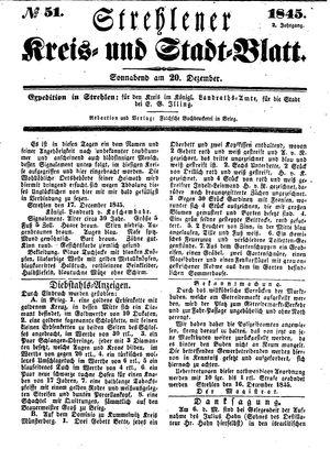 Strehlener Kreis- und Stadtblatt vom 20.12.1845