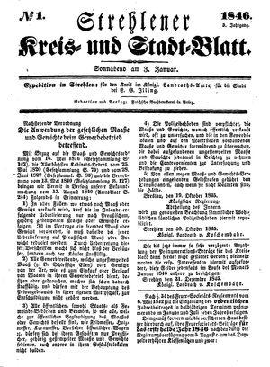 Strehlener Kreis- und Stadtblatt vom 03.01.1846