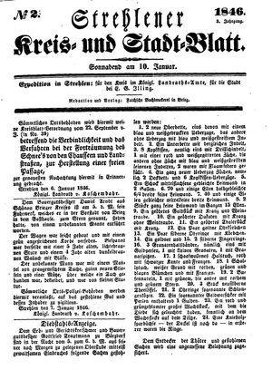Strehlener Kreis- und Stadtblatt vom 10.01.1846