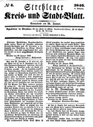 Strehlener Kreis- und Stadtblatt vom 24.01.1846