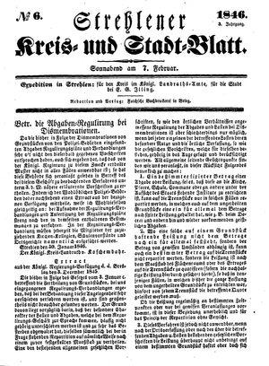 Strehlener Kreis- und Stadtblatt vom 07.02.1846