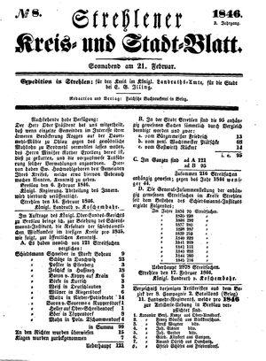 Strehlener Kreis- und Stadtblatt vom 21.02.1846