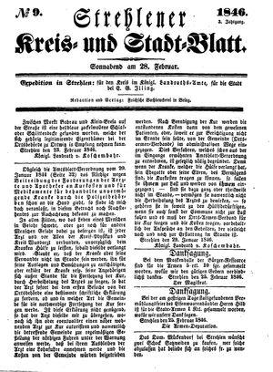 Strehlener Kreis- und Stadtblatt vom 28.02.1846