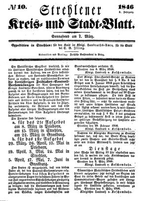Strehlener Kreis- und Stadtblatt vom 07.03.1846