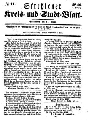 Strehlener Kreis- und Stadtblatt vom 14.03.1846