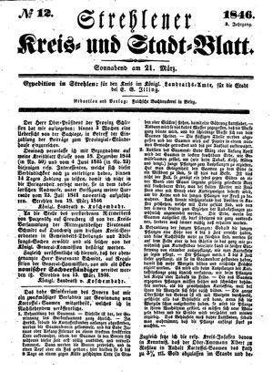 Strehlener Kreis- und Stadtblatt vom 21.03.1846