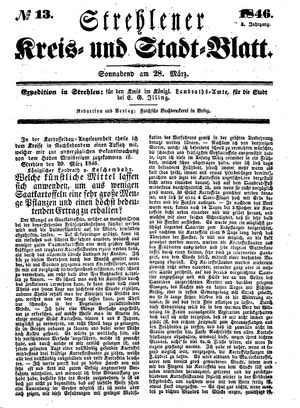 Strehlener Kreis- und Stadtblatt vom 28.03.1846