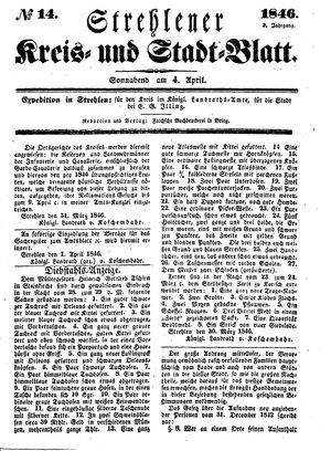Strehlener Kreis- und Stadtblatt vom 04.04.1846