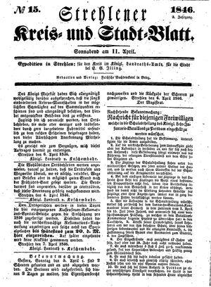 Strehlener Kreis- und Stadtblatt vom 11.04.1846