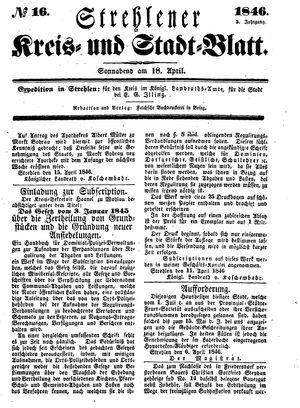 Strehlener Kreis- und Stadtblatt vom 18.04.1846