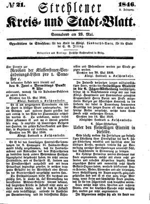 Strehlener Kreis- und Stadtblatt vom 23.05.1846