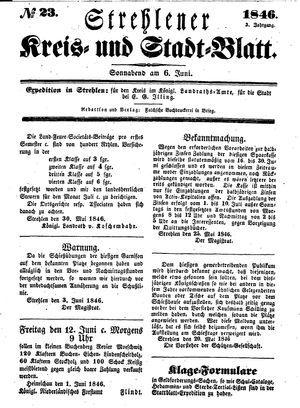 Strehlener Kreis- und Stadtblatt vom 06.06.1846