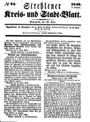 Strehlener Kreis- und Stadtblatt vom 13.06.1846