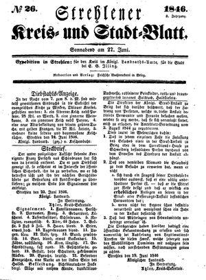 Strehlener Kreis- und Stadtblatt vom 27.06.1846