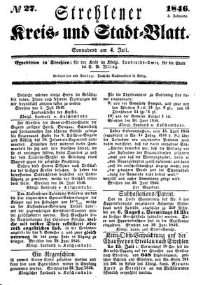 Strehlener Kreis- und Stadtblatt vom 04.07.1846