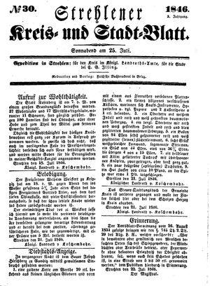 Strehlener Kreis- und Stadtblatt vom 25.07.1846