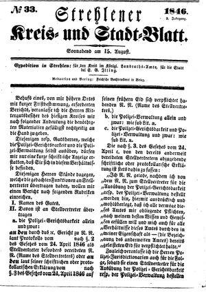 Strehlener Kreis- und Stadtblatt vom 15.08.1846
