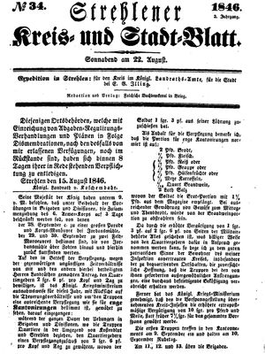 Strehlener Kreis- und Stadtblatt vom 22.08.1846