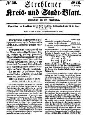 Strehlener Kreis- und Stadtblatt vom 26.09.1846