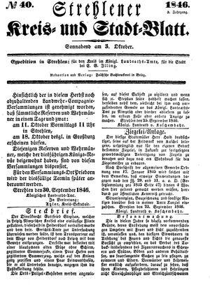 Strehlener Kreis- und Stadtblatt vom 03.10.1846