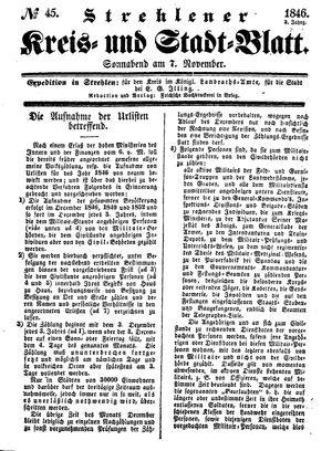 Strehlener Kreis- und Stadtblatt vom 07.11.1846
