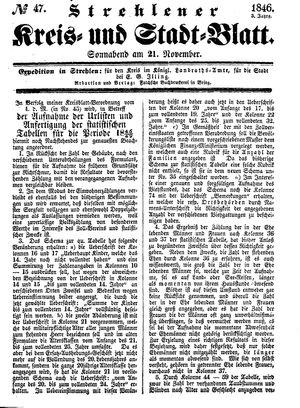 Strehlener Kreis- und Stadtblatt vom 21.11.1846