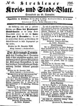 Strehlener Kreis- und Stadtblatt vom 28.11.1846