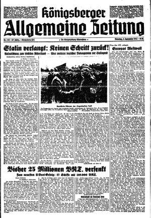 Königsberger allgemeine Zeitung vom 08.09.1942