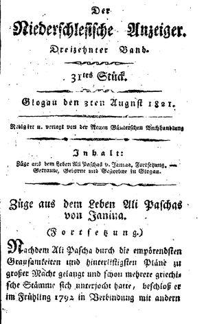 ˜Derœ niederschlesische Anzeiger on Aug 3, 1821