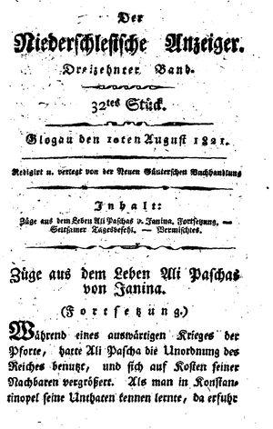 ˜Derœ niederschlesische Anzeiger vom 10.08.1821