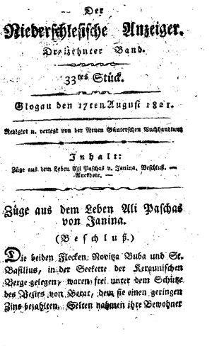 ˜Derœ niederschlesische Anzeiger on Aug 17, 1821