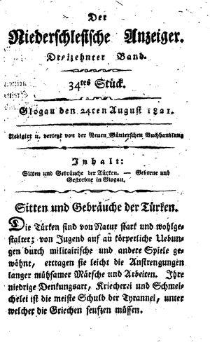 ˜Derœ niederschlesische Anzeiger vom 24.08.1821