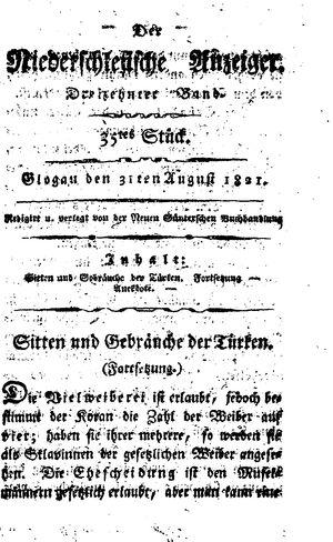 ˜Derœ niederschlesische Anzeiger vom 31.08.1821