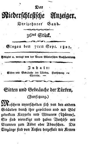 ˜Derœ niederschlesische Anzeiger vom 07.09.1821