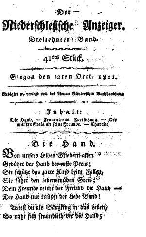 ˜Derœ niederschlesische Anzeiger vom 12.10.1821